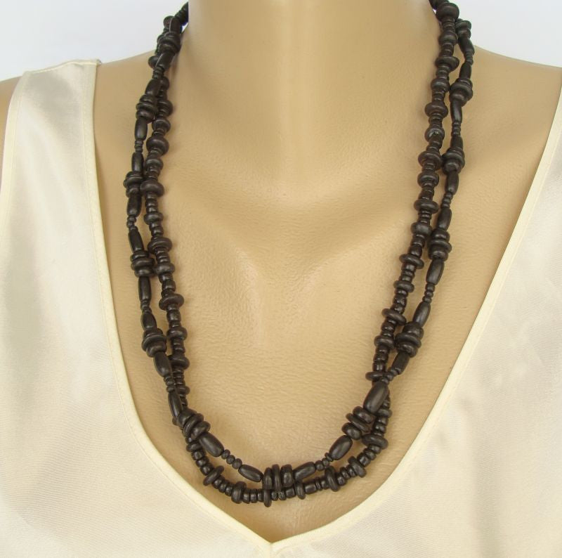 Ebony Black Wood Necklace Double Strand and Pierced Earrings Set