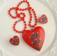 Handpainted Wood Red Heart Set Necklace Earrings Hyacinth Lupine Floral Jewelry