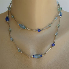 Green and Blue Bead Chain Necklace
