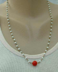 Simple White and Red Bead Necklace 22 Inches