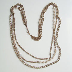 Triple Chain Necklace with Faux Pearls Vintage Jewelry