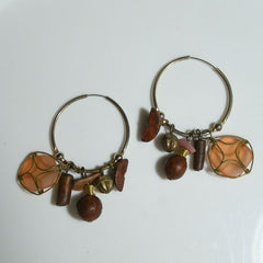 Multi bead Wire Hoop Earrings Dangle Peach Pink Jewelry