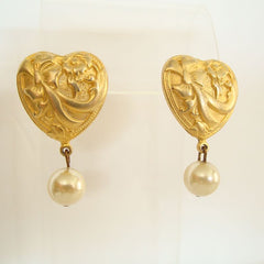 Art Nouveau Style Post Earrings Hearts Faux Pearls Vintage Floral Jewelry