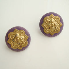 Goldtone Lavender Post Earrings Stylistic Floral Design