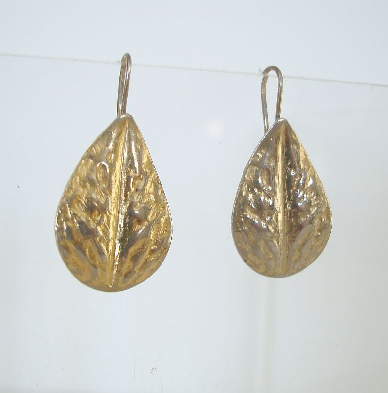 Vintage Hammered Goldtone Leaf Earrings Vintage Floral Jewelry