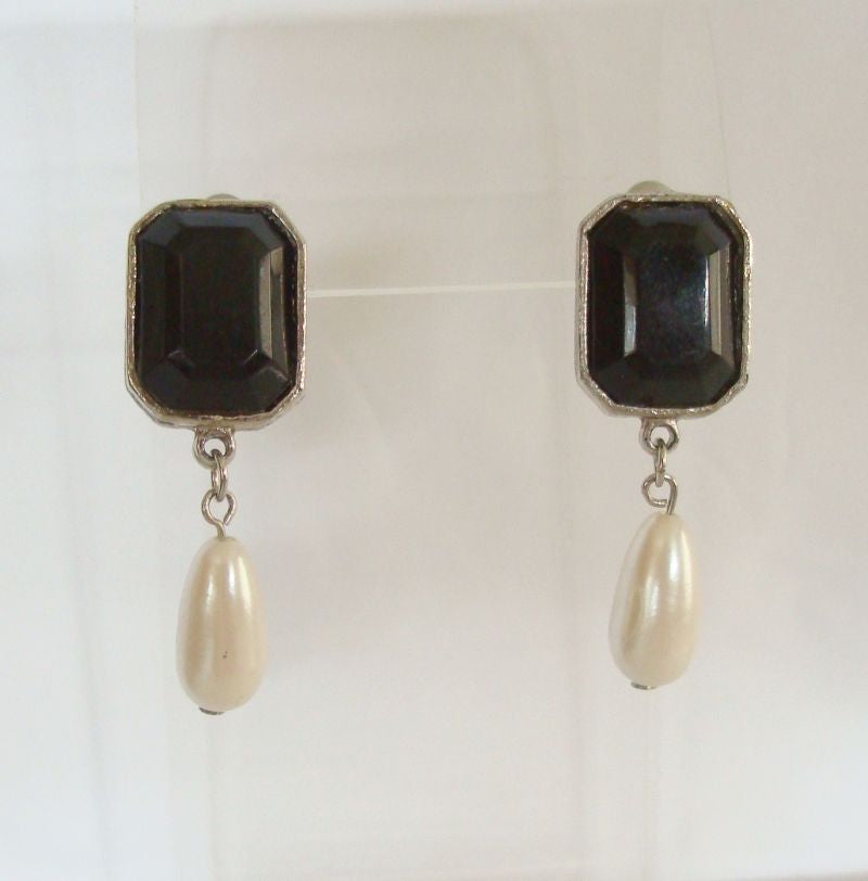 Faux Pearl Dangle Post Earrings Octagon Cut Black Plastic Stone Vintage Jewelry