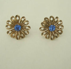 Blue Sapphire Rhinestone Floral Screw Back Earrings Vintage Jewelry