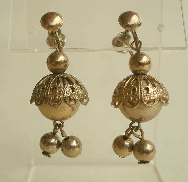 Brass Filigree Bead Caps Dangle Screw Earrings