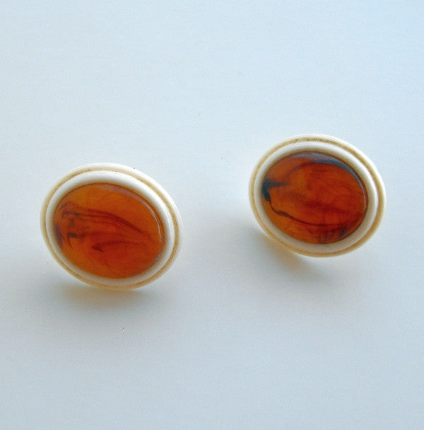 Amber and French Ivory Celluloid Clip On Earrings Vintage