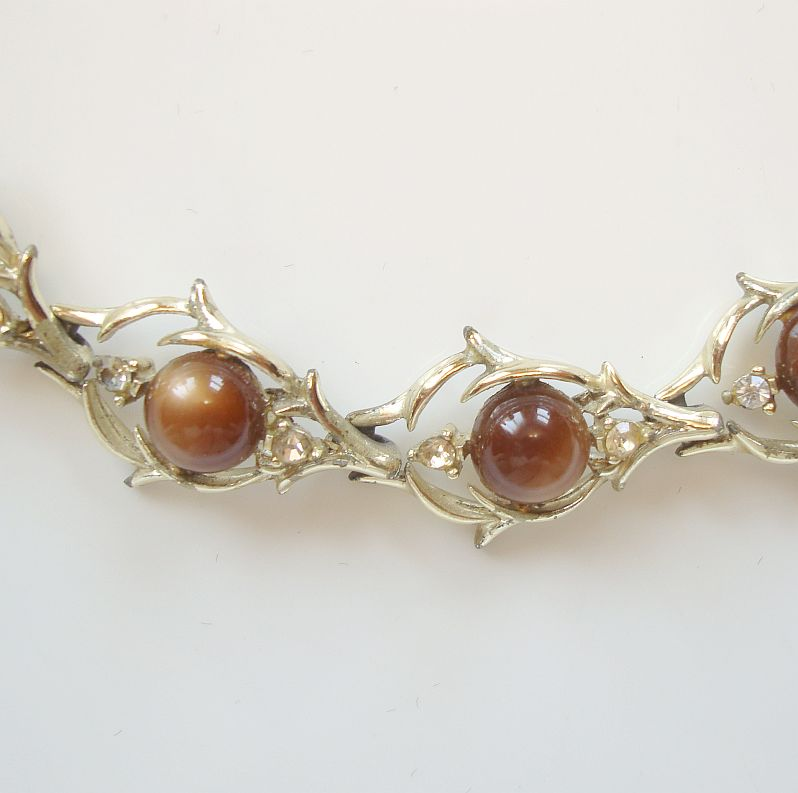 Coro Brown Moonglow Rhinestone Link Bracelet c1960 Vintage Jewelry
