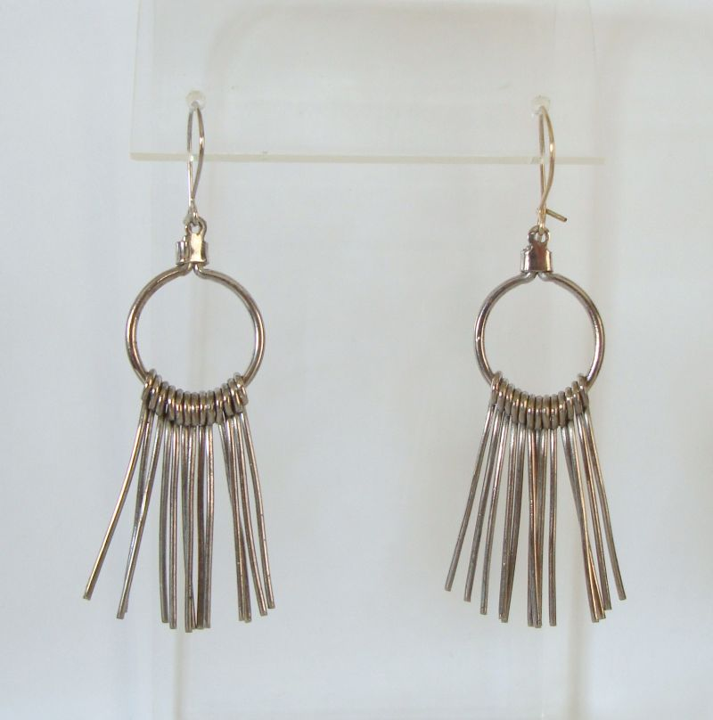 Retro Art Deco Dangle Hoop Earrings Vintage Jewelry