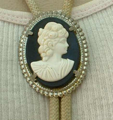 White Black Cameo Bolo Necklace Vintage Figural Jewelry