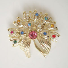 Multi-Color Rhinestone Brooch Pin Pink Green Red Blue Floral Jewelry