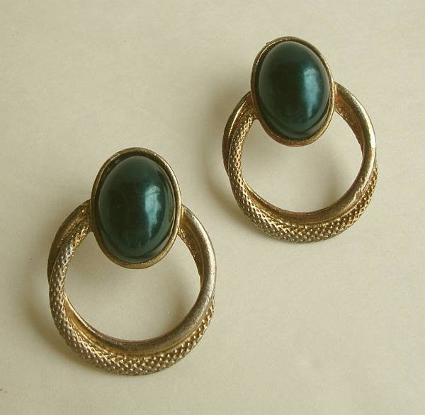 Emerald green Enamel Hoop Dangle Post Earrings Vintage Jewelry