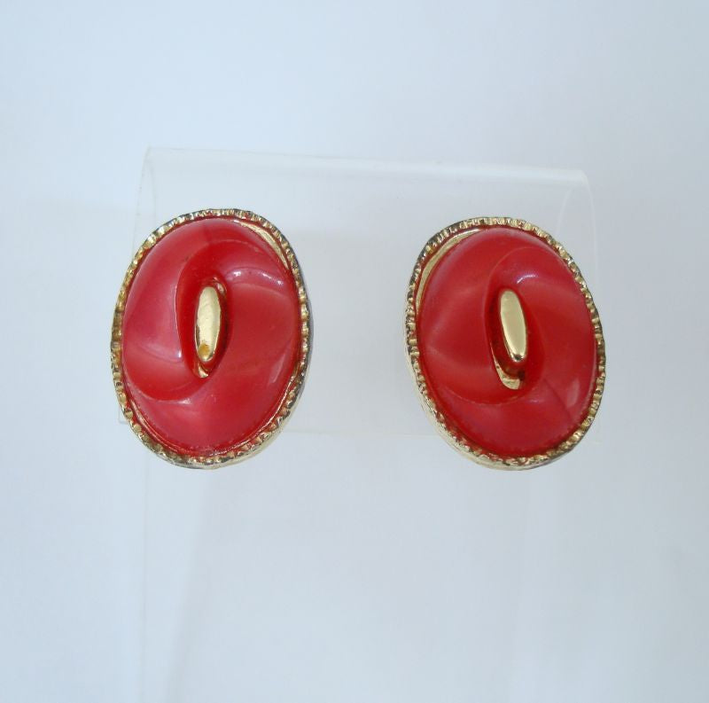 Old Red Celluloid Screw Earrings Look Like M and Ms Vintage Jewelry