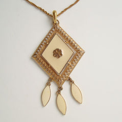 Beige Diamond-Shaped Enameled Pendant Drop Necklace Vintage Jewelry