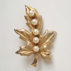 Leaf Brooch with Pearls Florentine Finish Pin Vintage Floral Jewelry