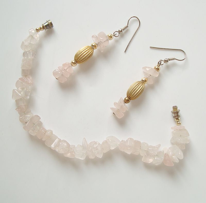 Genuine Rose Quartz Bracelet Dangle Earrings SET Jewelry