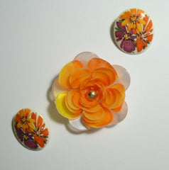 Orange Flowers Lucite Brooch Earrings Married Set Vintage Floral Jewelry