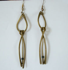 Retro Modernist Brass Dangle Earrings Vintage Jewelry