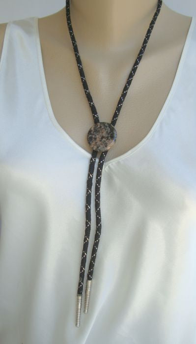 Black and Brown Agate Bola Necklace Bolo Jewelry