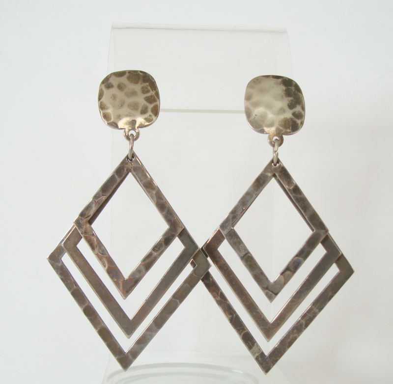 Hammered Metal Triangular Dangle Post Earrings Vintage Jewelry
