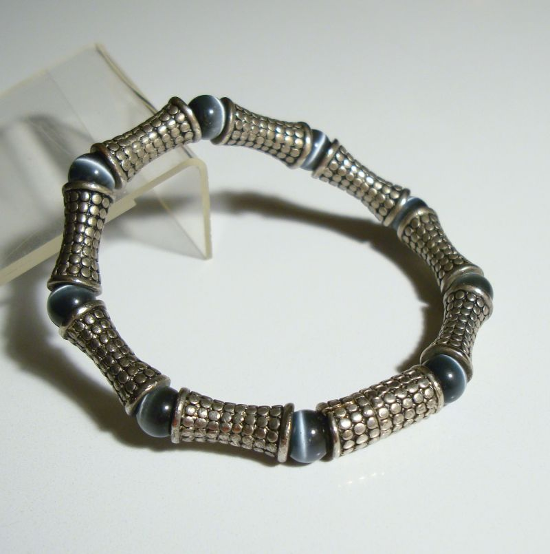 Blue Cat's Eyes Link Bracelet Magnetic Clasp Deco Style Jewelry