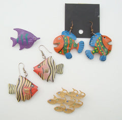 Lot of Fish Jewelry 2 Brooches 2 Pair Earrings Marine Jewelry