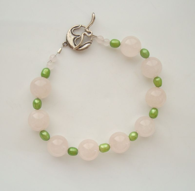 Rose Quartz Bracelet Green Spacers Sterling Silver Clasp New Gemstone Jewelry