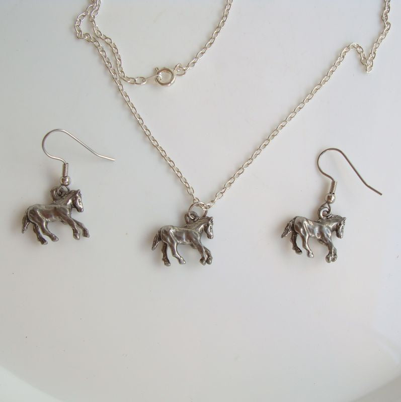 Galloping Horses Set Stallions Pewter Necklace Earrings Equestrian Jewelry