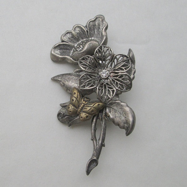 Floral Repousse Brooch Butterfly Dogwood Filigree