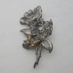 Floral Repousse Brooch Butterfly Dogwood Filigree Exquisite Vintage Jewelry