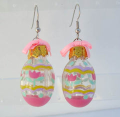 Pink Easter Egg Earrings Bows Holiday Jewelry