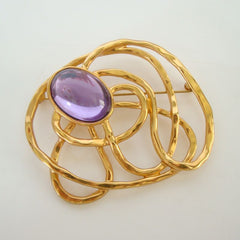 Large Glass Amethyst Brooch Pin Abstract Design Vintage Jewelry