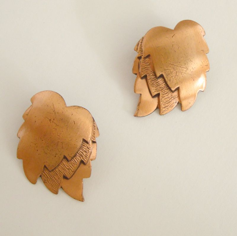 Solid Copper Leaf clip earrings Vintage Jewelry