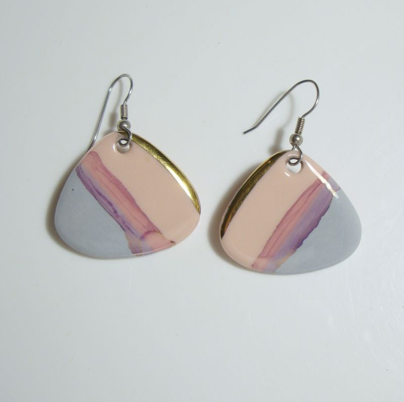 Triangular Pastel Pink Blue Gold Enamel Ceramic Earrings Vintage Jewelry