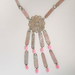 Unusual Wall Paper Wrapped Beads Drop Necklace Pink Vintage Jewelry
