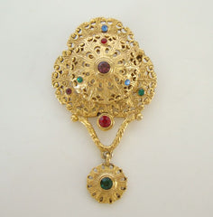 AJC Unusual Multi-color Rhinestone Drop Brooch Middle Eastern Style Jewelry