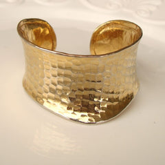 Wide Hammered Goldtone Cuff Bracelet Curved Edge Vintage Jewelry