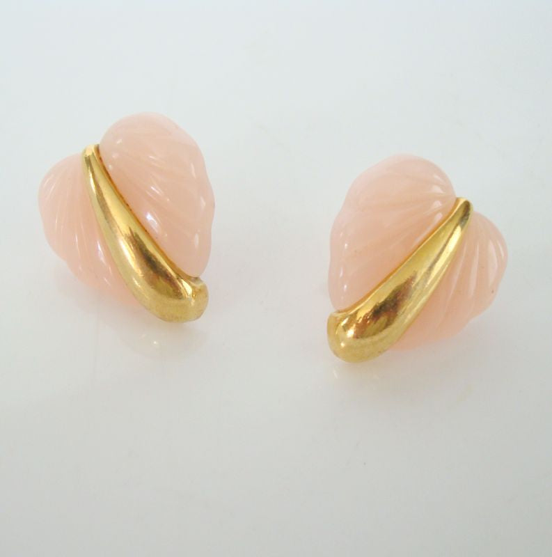 Pink Lucite Heart Clip On Earrings Vintage Jewelry