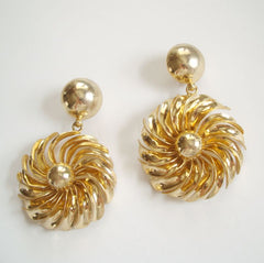 Huge Sun Burst or Floral Dangle Clip On Earrings Vintage Jewelry
