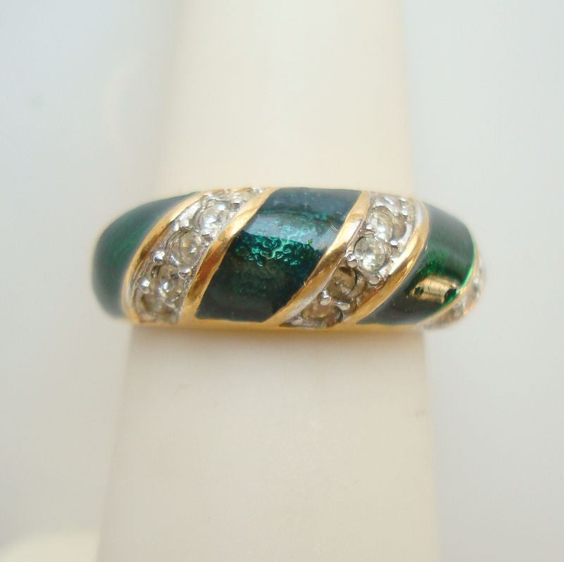 Green Enamel and Rhinestones Ring 18K Gold Plated Sz 6 Jewelry