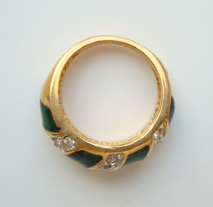 Green Enamel and Rhinestones Ring 18K Gold Plated Sz 5 Jewelry