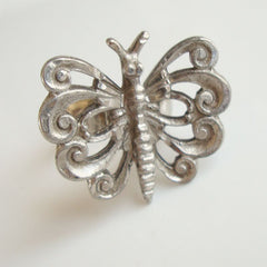 Openwork Adjustable Butterfly Ring Silvertone Insect Jewelry