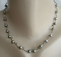 Silvertone Bead Link Necklace 17-inches Vintage Jewelry
