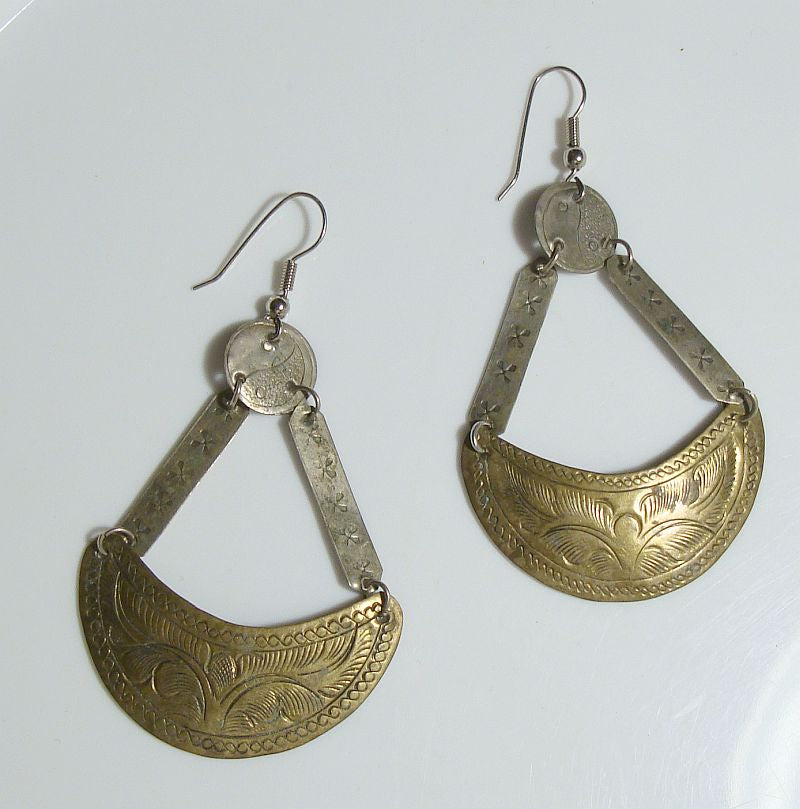 Brass Silver Embossed Basket Dangle Earrings