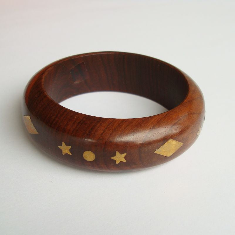 Wood Bangle Bracelet Inlaid Brass Geometric Designs Stars Vintage Jewelry