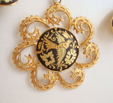 Damascene Doves Set Necklace Clip Earrings Avian Bird Jewelry