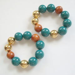 Two Large Bead Expansion Bracelets Brown Green Gold Colored Jewelry
