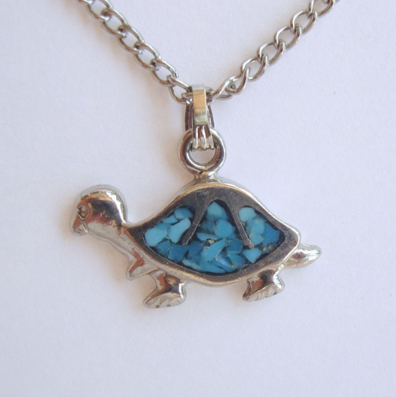 Tiny Turtle Necklace Earring Set 1982 Signed Vintage Figural Jewelry